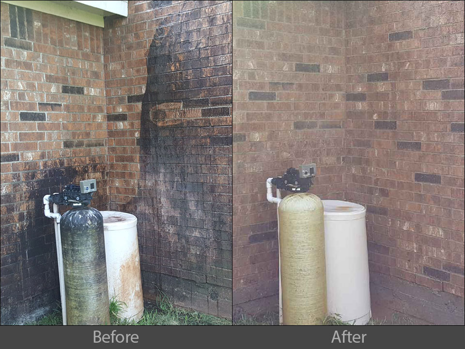 pressure washing house brick siding