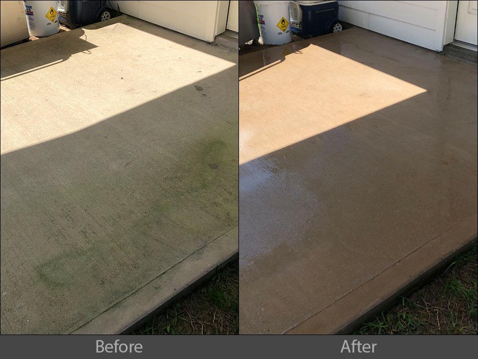 pressure washing concrete patio
