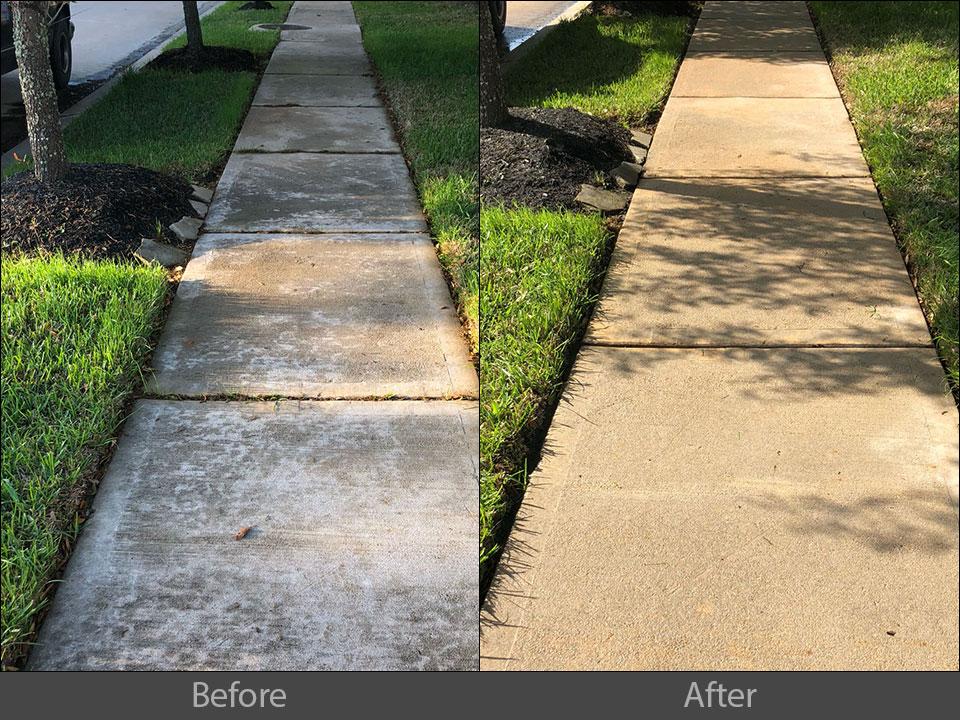 pressure washing concrete sidewalk